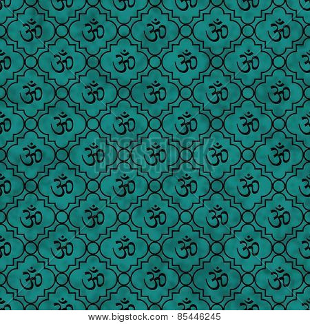Teal And Black Aum Hindu Symbol Tile Pattern Repeat Background