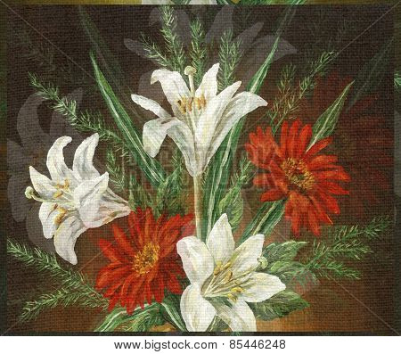 Picture Oil Painting, Bouquet Flowers