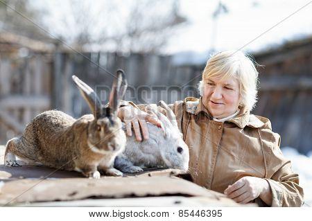 woman and rabbits