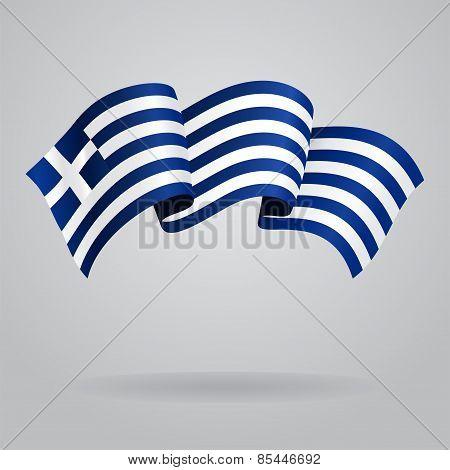 Greek waving Flag. Vector illustration