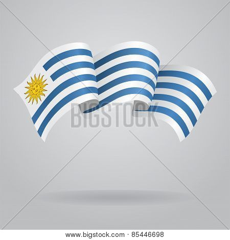 Uruguayan waving Flag. Vector illustration