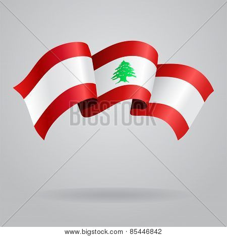 Lebanese waving Flag. Vector illustration