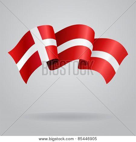 Danish waving Flag. Vector illustration