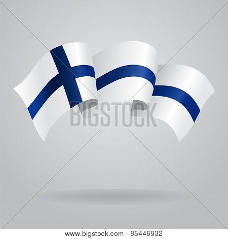 Finnish waving Flag. Vector illustration