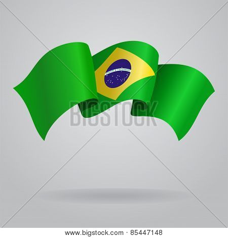 Brazilian waving Flag. Vector illustration