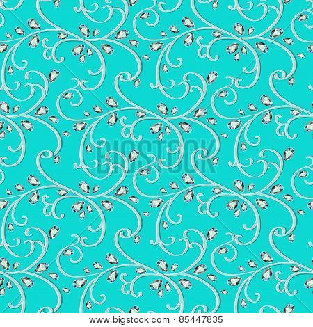 Illustration Background Seamless Gems And  Pattern