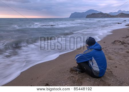 man on the morning seascape