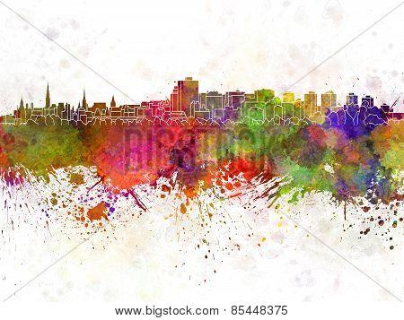 Ottawa Skyline In Watercolor Background
