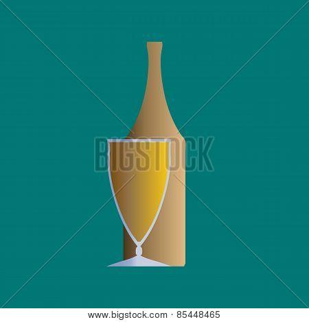 Bottle and glass illustration.