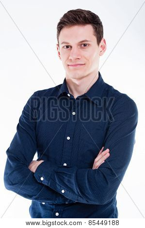 Young businessman portrait on white backgound