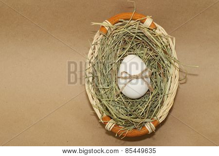 easter egg with bowknot in basket