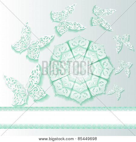 Illustration Background With Butterflies And Flower  Of Lace