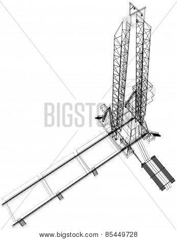 Oil rig. Detailed vector illustration