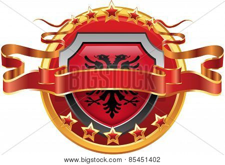 Shield with tape and with the stars and the flag of Albania