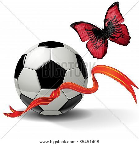 Soccer ball with ribbon and butterfly with a flag of Albania