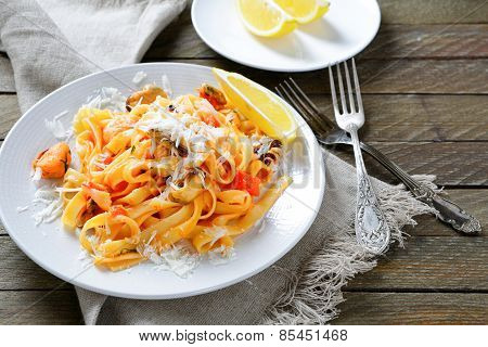 Tasty Pasta With Seafood On A Plate