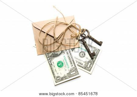 Three Old Keys,  Banknotes And Envelope On A White Background