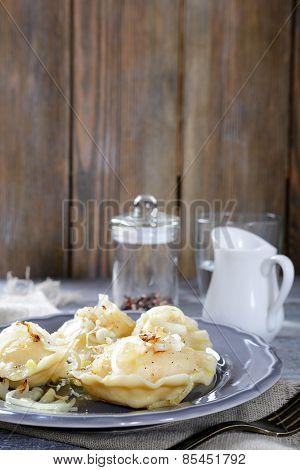 Pierogi With Potatoes In A Dish