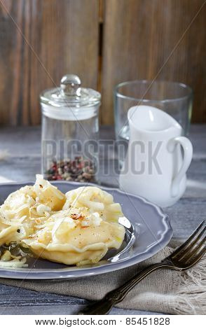 Traditional Pierogi With Potatoes On A Plate