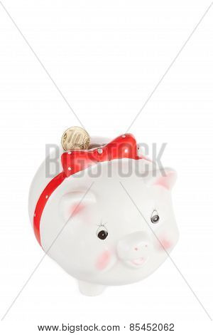 White Pig Moneybox With A Coin