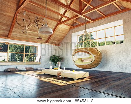 beautiful modern attic interior with hanging sofa. 3d design concept.