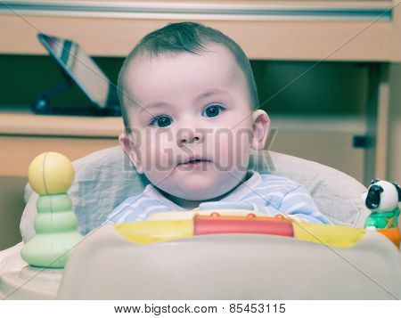 Portrait Of Caucasian Baby Boy At Home