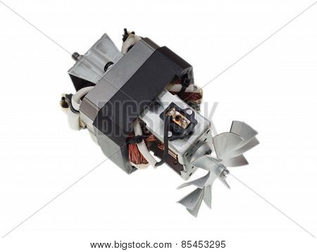 Electric Motor Of Vacuum Cleaner Isolated On White