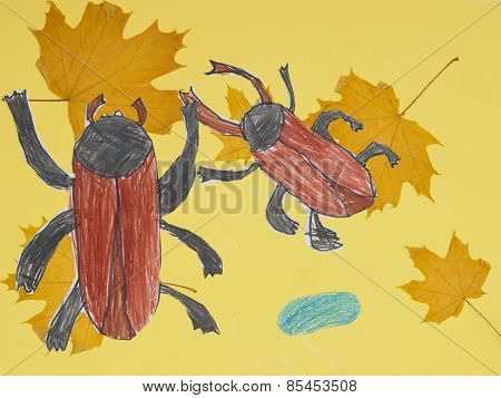 Children Drawing Multicolored Beetles