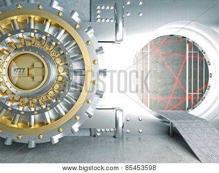 huge vault door and laser lines