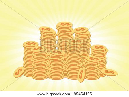 Stacks Of Coins Concept
