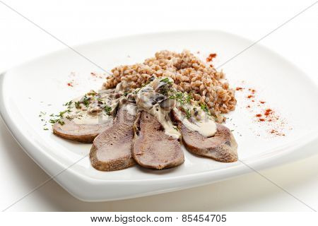 Beef Tongue with Mushrooms Cream Sauce and Buckwheat
