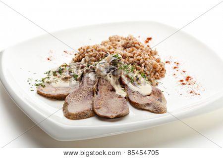 Beef Tongue with Mushrooms Cream Sauce and Buckwheat