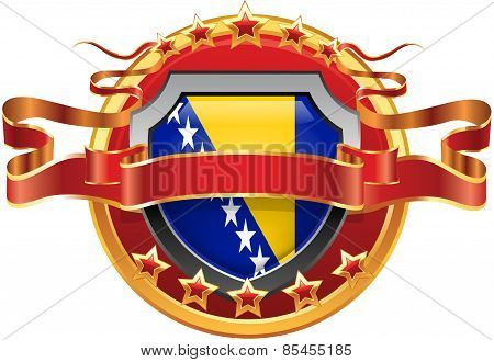Shield with tape and with the stars and the flag of Bosnia and Herzegovina
