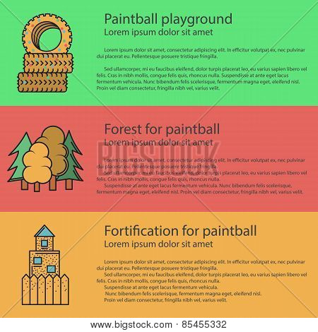Paintball playground flat color vector illustration