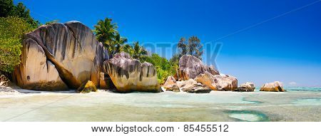 Landscape Seychelles lagoon with clean sand