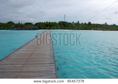 Timber Pier At Maldives Island