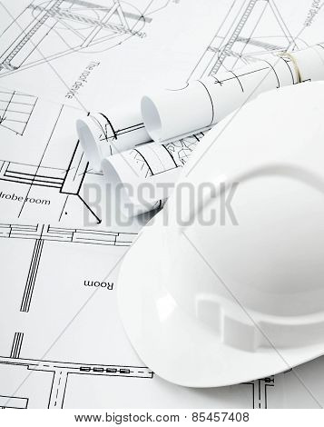 Drawings for building house and helmet. Working drawings.