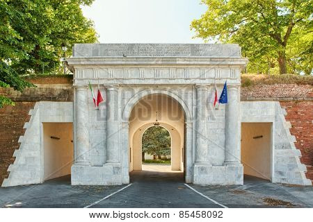 Ancient gate - the entrance to the historic city of Lucca in Tuscany, Italy