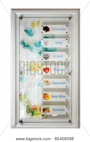 Offer many kinds of authentic Italian ice cream on a white background