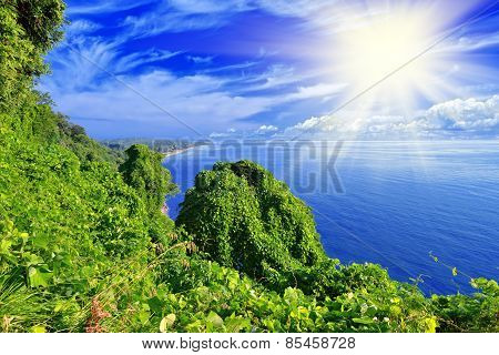 Green Island, Sea And Blue Sky