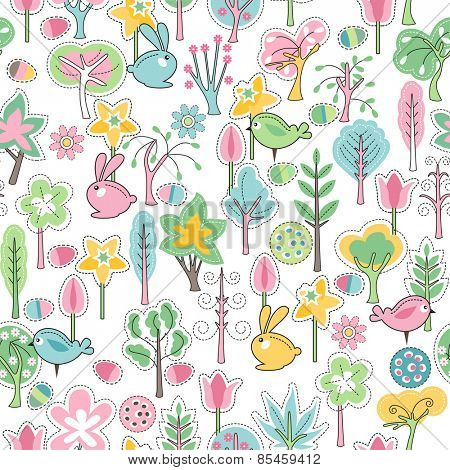 Seamless pattern with easter rabbits and spring trees