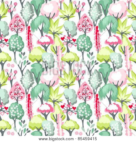 Seamless pattern with blossoming trees