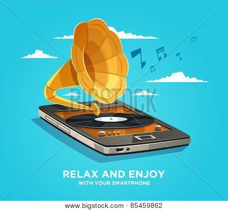 Relax and enjoy with your smartphone. Vector illustration.