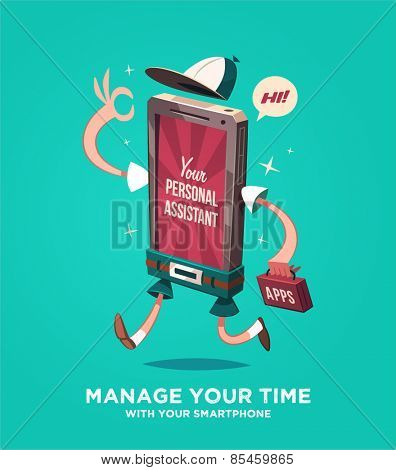 Manage your time with your smartphone. Vector illustration.