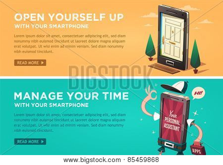 Open yourself up with your smartphone. Manage your time with your smartphone. Vector flat banners set.