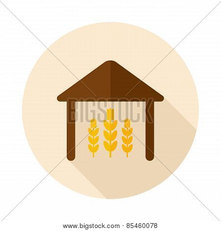 Barn Flat Icon With Long Shadow