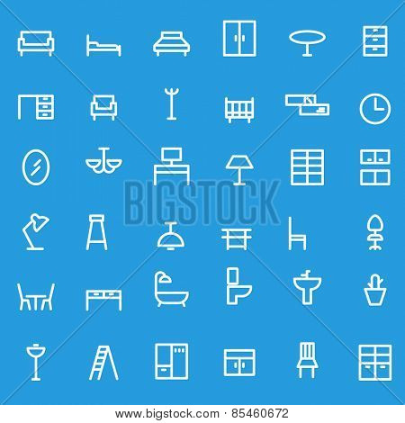 Furniture icons, simple and thin line design