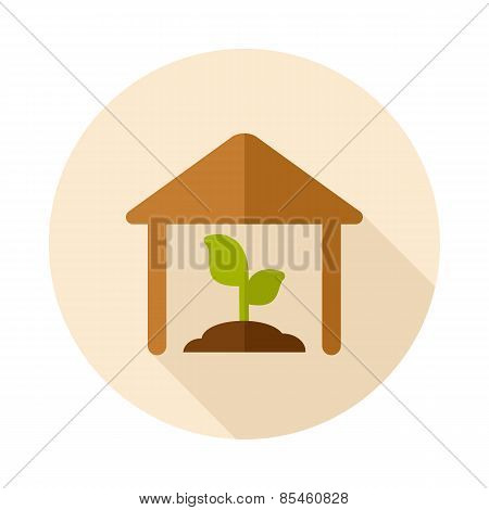 Greenhouse Flat Icon With Long Shadow