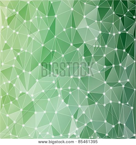 Background Polygonal Green With White Contours