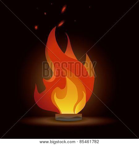 fire design over red  wine background vector illustration